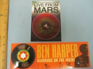 BEN HARPER 2 sticker set 2001 Live From Mars & 2003 Diamonds New Old Stock