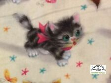 RPFMM78 RARE Kitty Kittens Cat Retro Vintage Cute Bows Cat Cotton Quilt Fabric