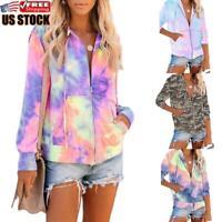 Women Tie Dye Long Sleeve Sweatshirt Ladies Zip Hoodie Casual Jumper Coat Jacket