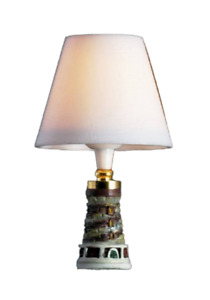 Dolls House Lighthouse Table Lamp White Shade Miniature 12V Electric Lighting