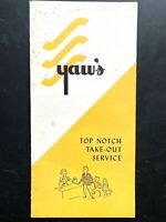 1955 YAW'S TOP NOTCH vintage restaurant take-out menu PORTLAND, OREGON - famous!