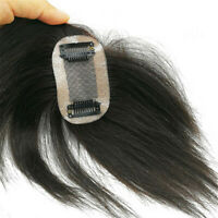 Remeehi Human Hair Straight Topper Short Crown Clip on Hairpiece Invisible Toupe
