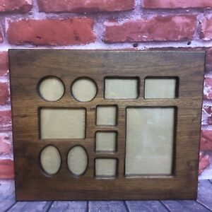Vintage Multi Picture Wooden Frame Hand Made Dark Walnut Mid Century MCM Style