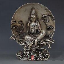 "8"" Old Chinese Pure Silver Buddhism Backlight Avalokiteshvara Bodhisattva Statue"