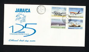 (SBAZ 137) Jamaica 1999 FDC UPU 125th Anniversary AIRMAIL MAIL SHIPS PLANE
