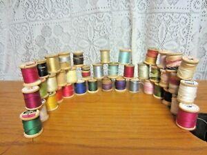 Lot of 40 Spools of Thread - Wooden Spools