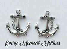 10 x Tibetan Silver ANCHOR & ROPE SHIP SEA BOAT 3D 32mm Charms Pendants Beads
