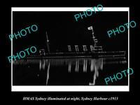 OLD POSTCARD SIZE PHOTO OF HMAS SYDNEY ILLUMINATED c1913 AUSTRALIAN ANVY