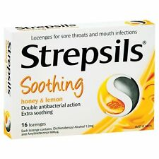 * STREPSILS SOOTHING HONEY & LEMON FLAVOUR 16 LOZENGES FOR SORE THROATS
