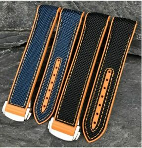 20 22 Nylon Leather Rubber Watch Band Strap For Omega Seamaster 300 Planet Ocean