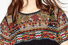 ZARA Ethnic Embroidered Blouse Tunic Top plumetis Chemisier Tunique broderie size L