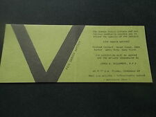 1981 Ticket Invite to FIVE SARNIA ARTISTS exhibit ART GALLERY VGC