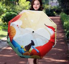 Creative Red Fox&Girl Pattern Folding Compact Umbrella Pretty Sunscreen Parasol