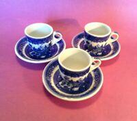 3 Blue Willow Demitasse Teacups And Saucers - Shenango Transferware - PA USA