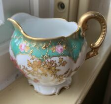 Antique M. Redon Limoges France Hand Painted Porcelain Flowers Creamer Gold Trim