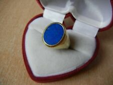 Wonderful  beautiful Nice GOLD RING 4.5 g Vintage 585 SIZE 9.5 blue stone Signet
