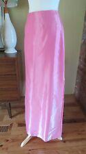 Vtg LIQUID SATIN Shiny Formal Long SKIRT Maxi  Pink Valentines side slits S 4