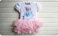 New Beautiful Dress Disney Frozen Princess Elsa Prink Tutu Party Dress  2-7Y-Uk