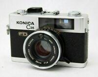 Konica C35 FD 35mm Film Camera w/Hexanon 1:1.8 Lens *Working* #CQ29a