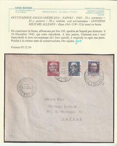 1943 10 DIC OCC. ANGLO AMERICANA NAPOLI SERIE COMPLETA SASS 10A+11B+12A SU BUSTA