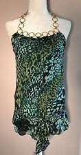 Arden B Women's Halter Gold Chain Tunic Top Green Blue Animal Print Silk Small