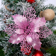 Christmas Large 9cm Poinsettia Glitter Pink Flower Tree Hanging Party Decoration