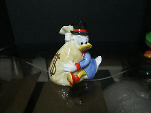Disney Coin Bank Uncle Scrooge Ceramic Money Bags Remarkable Pristine Condition