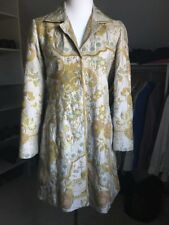 Biya Johnny Was Fitted Long Silk Jacket Coat Stunning Floral Embroidered S