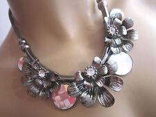 Strass Collier Damen Hals Kette Modekette kurz Kristall Silber Schwarz CO8886