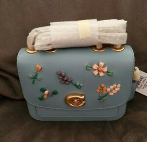 New With Tags Coach Retail Azure Madison 16 With Floral Embroidery