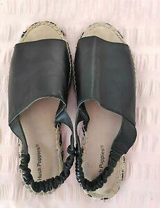Black Leather Sandals Slides HUSH PUPPIES Fresco Size 7 Gorgeous