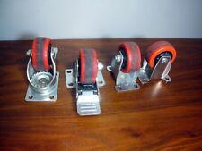 4 3 Cart Wheels Caster 2 Locking Swivel Rubber Poly Rigid 175 Lb Each Wheel