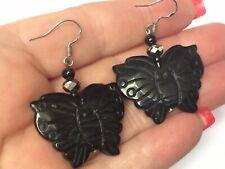 Vintage Carved Black Agate Butterfly Dangle Drop Hook Earrings