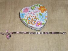 Brighton Silver & Pink Tone Swarovski Crystal Heart Charm Tennis Bracelet