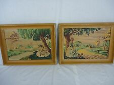 Pr Vtg Mid Century Paint By Number Romantic Summer Southern Belles Art Award