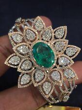 11.11 Cts Round Brilliant Cut Diamonds Emerald Bangle Bracelet In 585 14K Gold