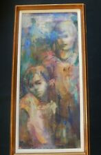 50's Figurative Abstract Oil Painting Girl & Boy signed Muller - Jan Muller ?