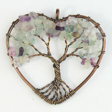 Natural Fluorite Tree of Life Reiki Chakra Copper Heart Pendant for Necklace