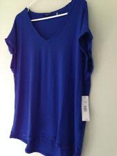 NWT Tahari Designer Moore Knit Sonata Blue Oversized Relaxed V-Neck Top L $68