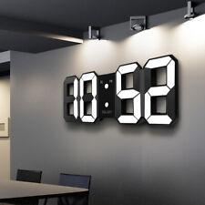 3D Digital LED Night Wall Alarm Clock Display Modern  12/24 Hour Snooze