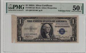 Fr 1608 1935A $1 Silver Certificate Fold Over Error PMG AU 50 EPQ