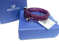 Swarovski Crystaldust Heart Double Bangle, Purple Size:S Crystal MIB 5292451