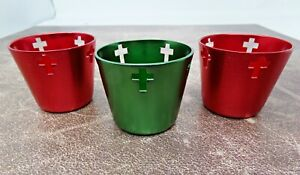 CLOSEOUT SALE Lot of 3 Red and Green Votive Candle Holders With Cross Cutouts