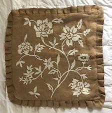"""Ballard Jute Flower Embroidered Pillow Cover Ruffle 26"""" x 26"""" NEW"""