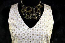 Di Vita White Gold Embroidery Metallic Silk Lined Sundress Dress Small 2 $315