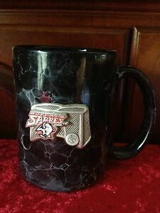 BUFFALO SABRES Black Marble w/ Silver Hockey Net Coffee Mug - cup glass LINYI