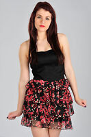 Womens Black Mini Party Dress with Floral Skirt Ladies Brand New UK 8 10 12 14