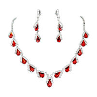 Xmas Gifts Teardrop Red Ruby Rhinestone Crystal Earrings Necklace Sets