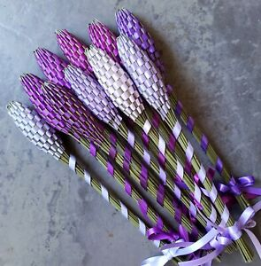 Lavender Filled Wands Gift Set of 10 Medium Fragrant Dried Flowers Purples
