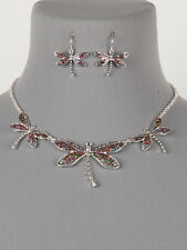 Dragonfly Multi Color Glitter Silver Tone Women Fashion New Necklace Earring Set